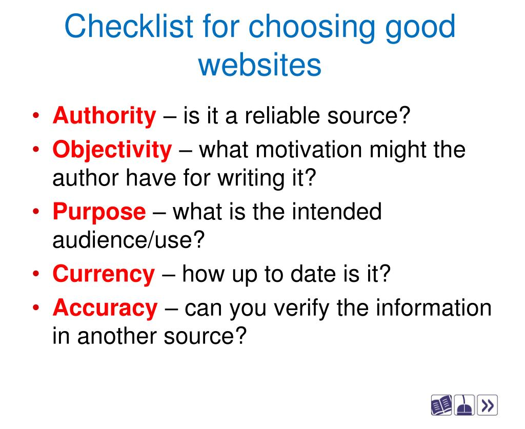Checklist for choosing good websites