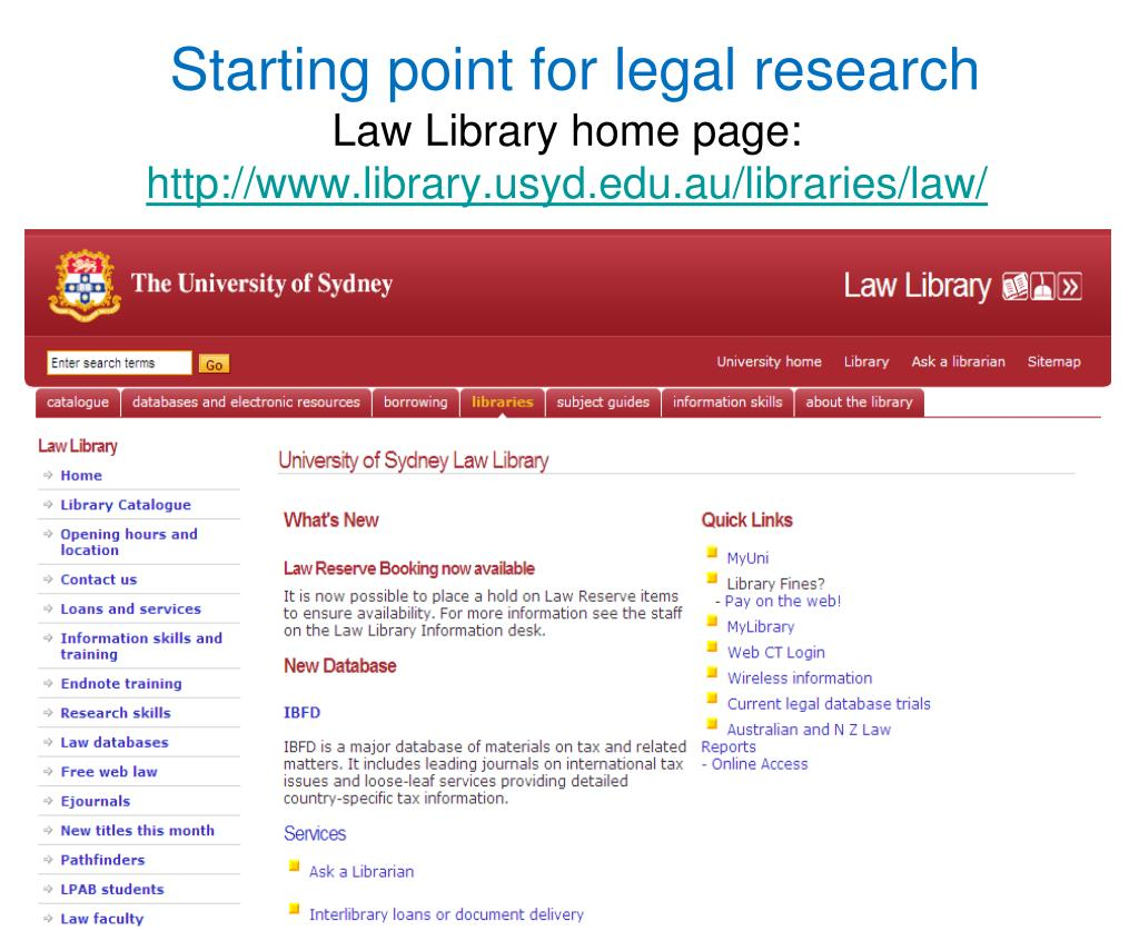 Starting point for legal research