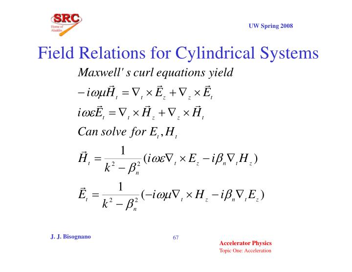 Field Relations for Cylindrical Systems