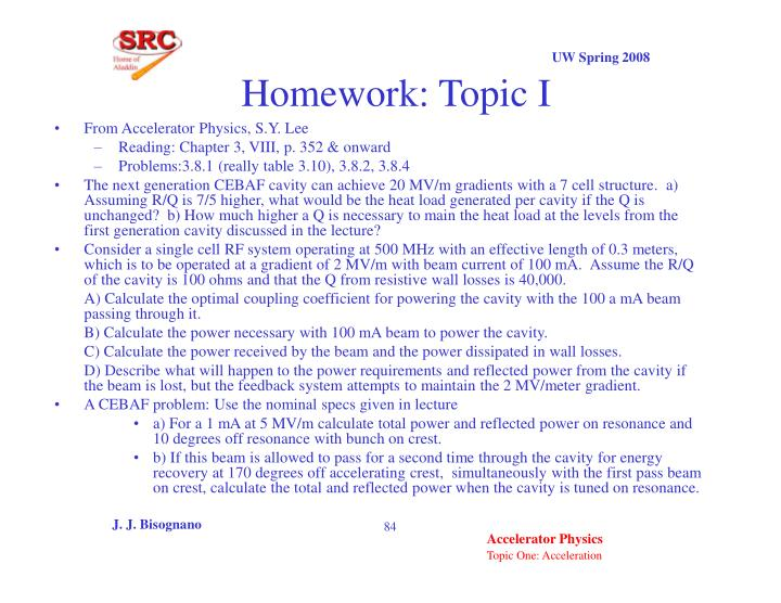 Homework: Topic I