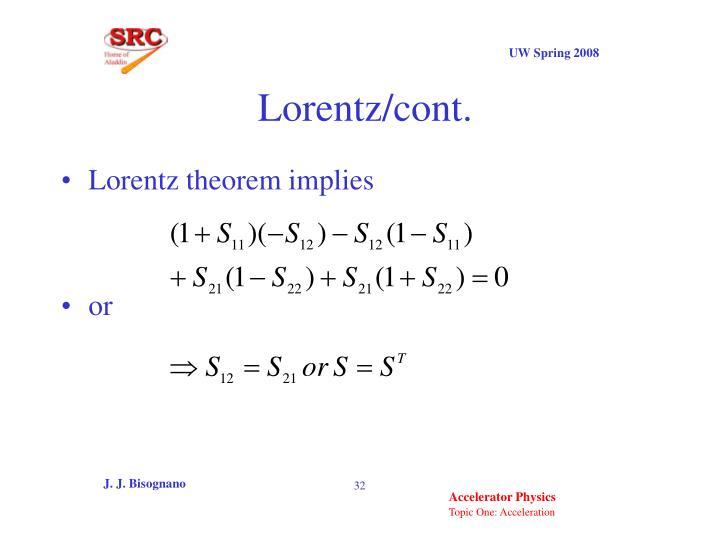 Lorentz/cont.