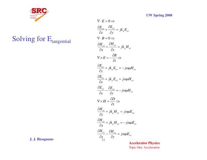 Solving for E
