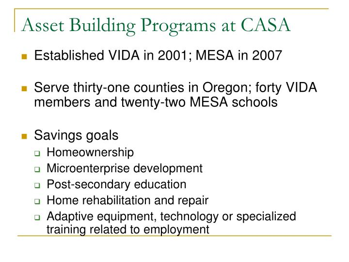 Asset building programs at casa