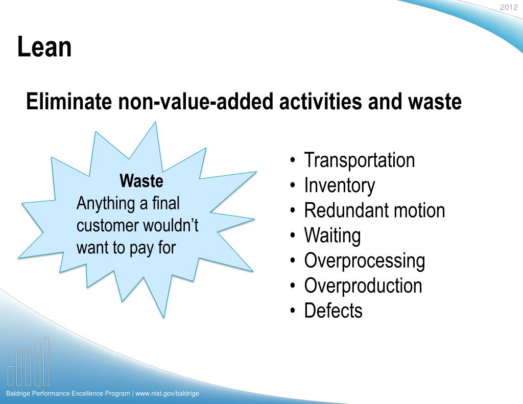 Eliminate non-value-added activities and waste
