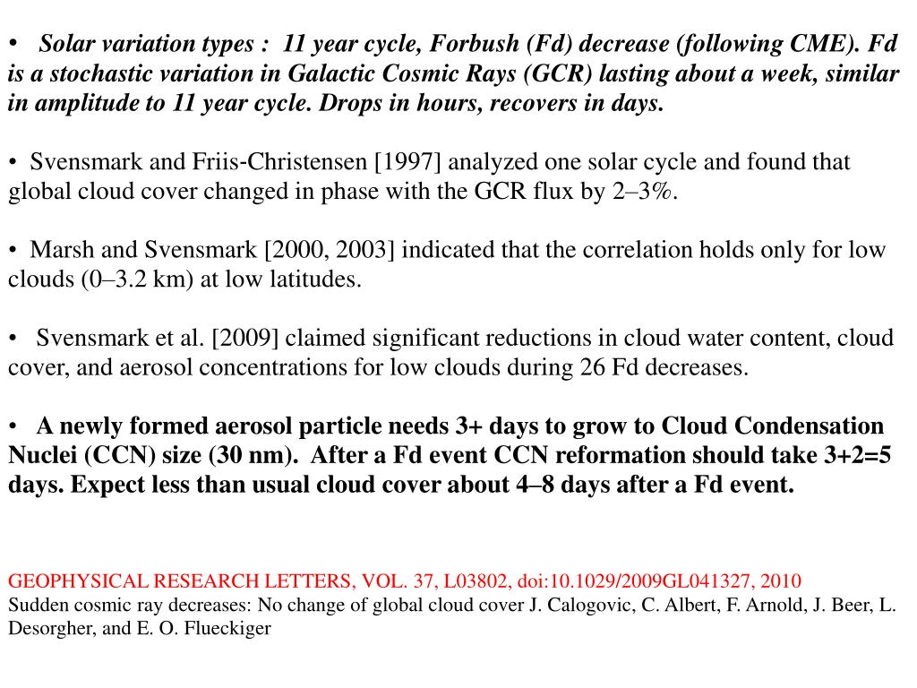 Solar variation types :  11 year cycle, Forbush (Fd) decrease (following CME). Fd is a stochastic variation in Galactic Cosmic Rays (GCR) lasting about a week, similar in amplitude to 11 year cycle. Drops in hours, recovers in days.