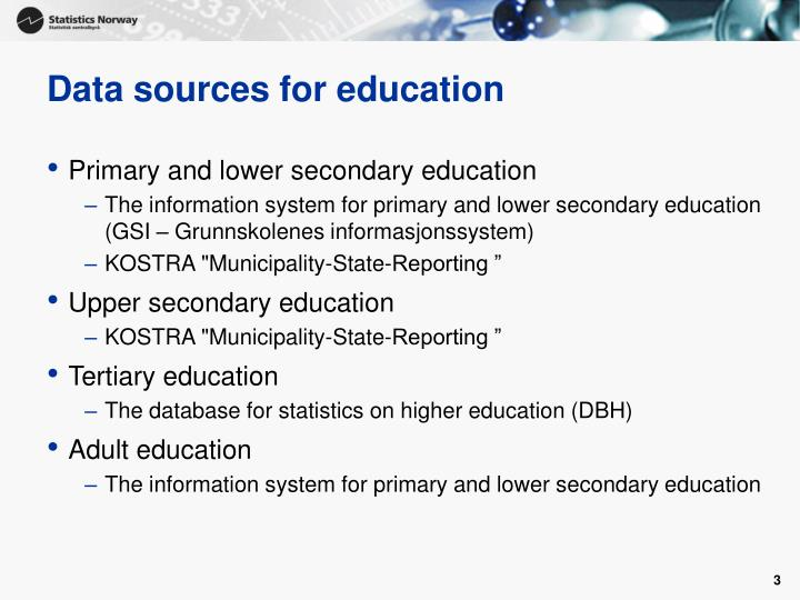 Data sources for education