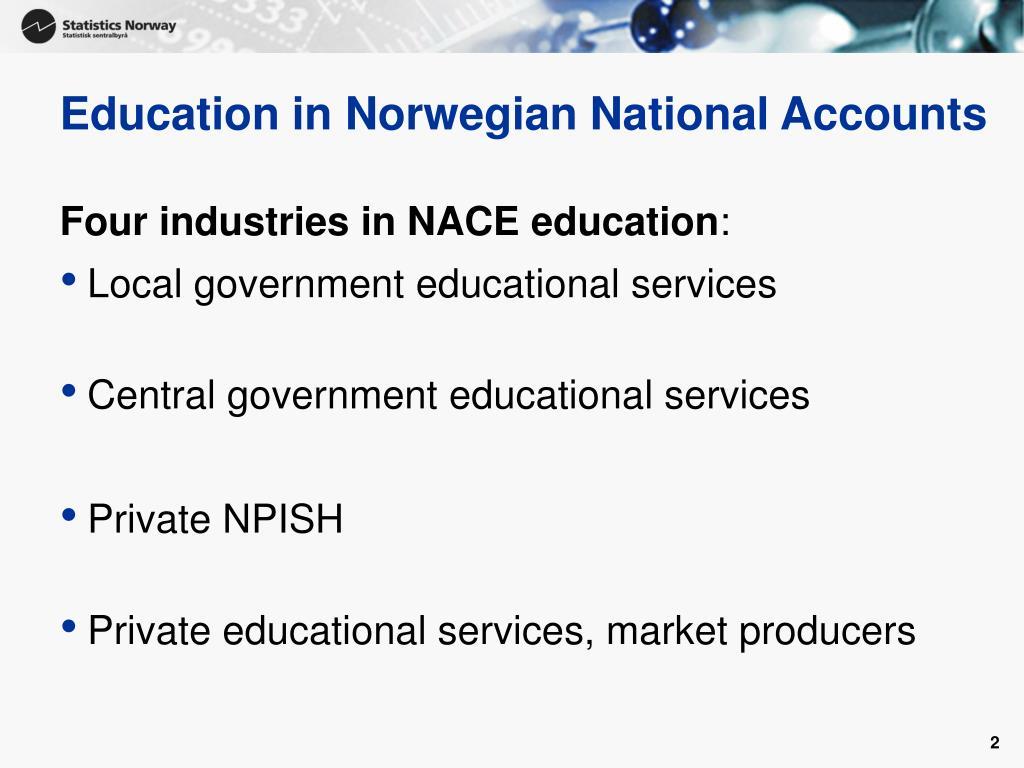 Education in Norwegian National Accounts