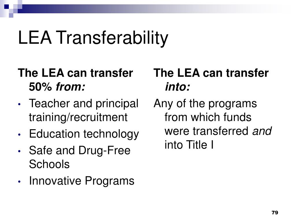 The LEA can transfer 50%