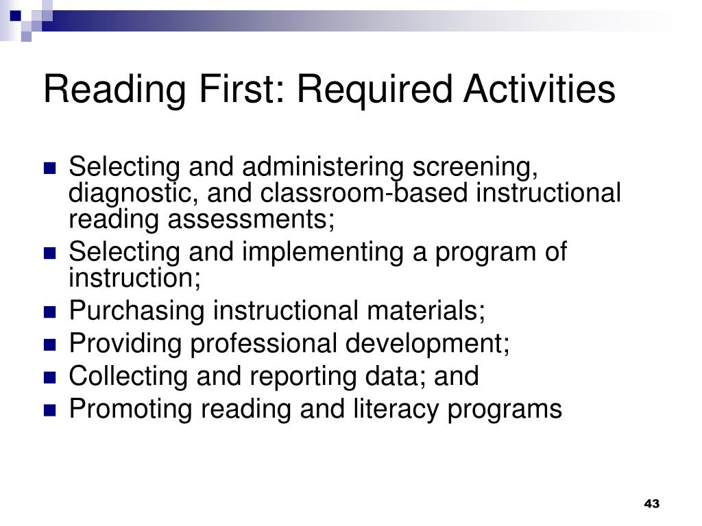 Reading First: Required Activities