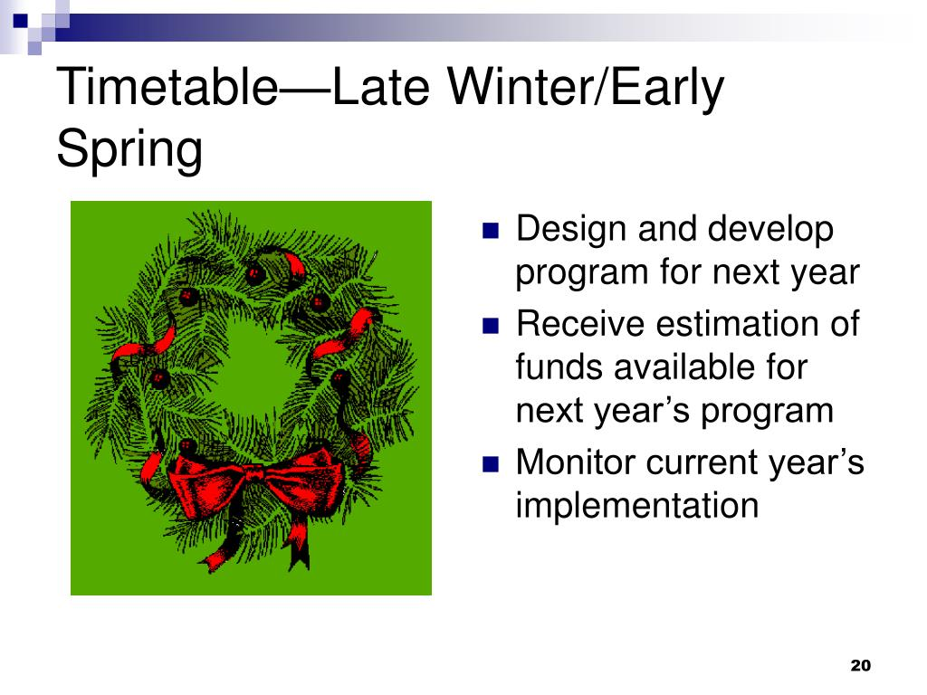 Timetable—Late Winter/Early Spring