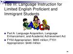title iii language instruction for limited english proficient and immigrant students