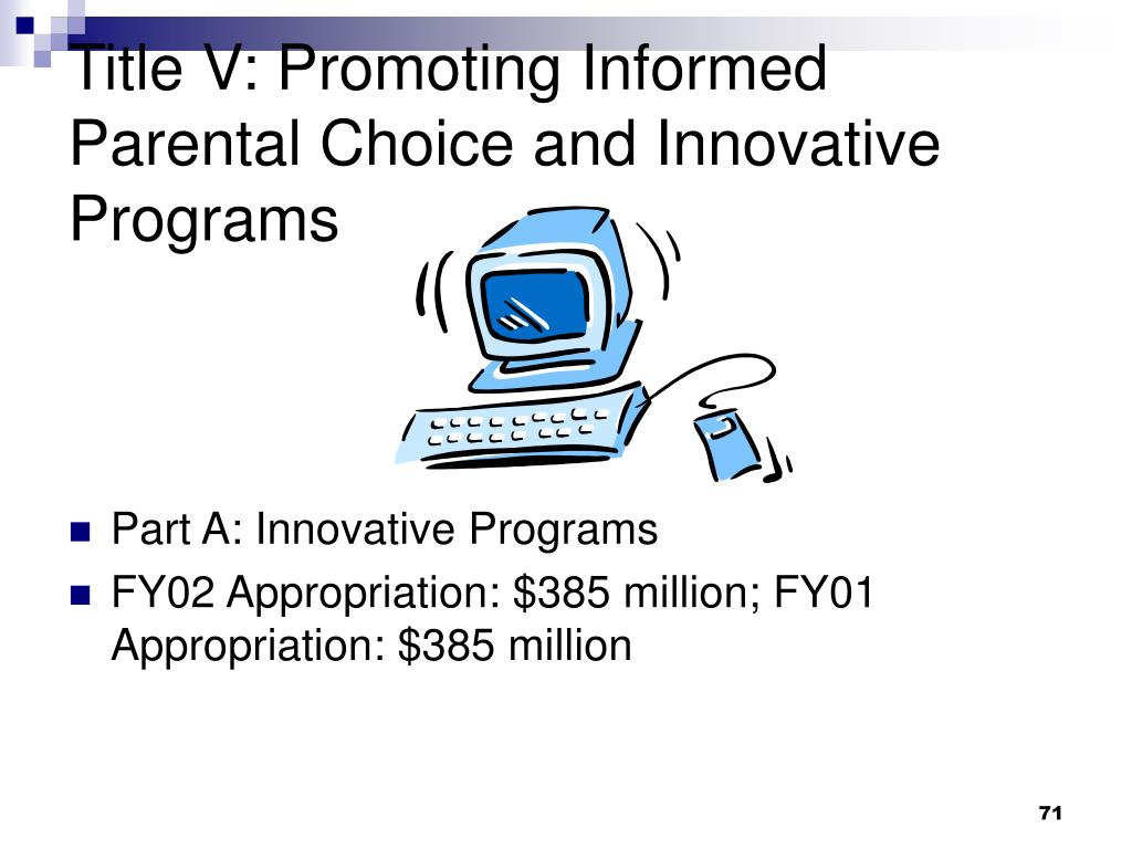 Title V: Promoting Informed Parental Choice and Innovative Programs