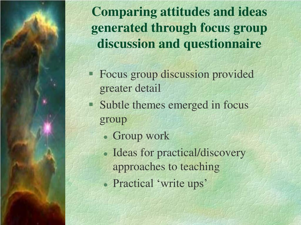 Comparing attitudes and ideas generated through focus group discussion and questionnaire