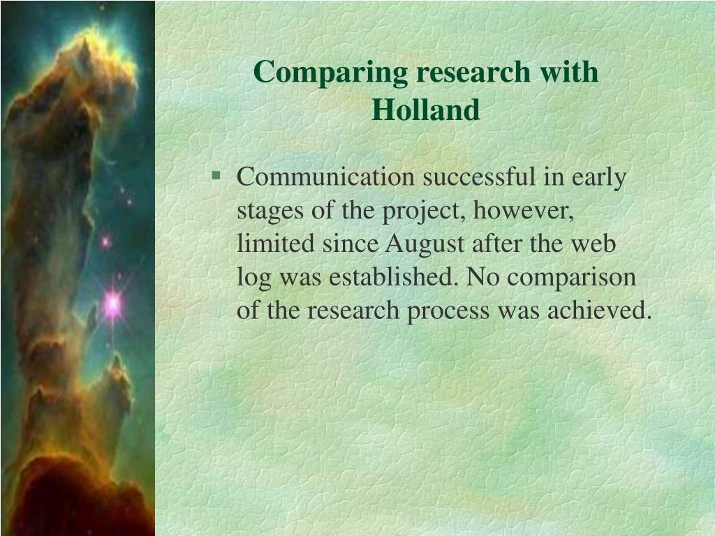 Comparing research with Holland