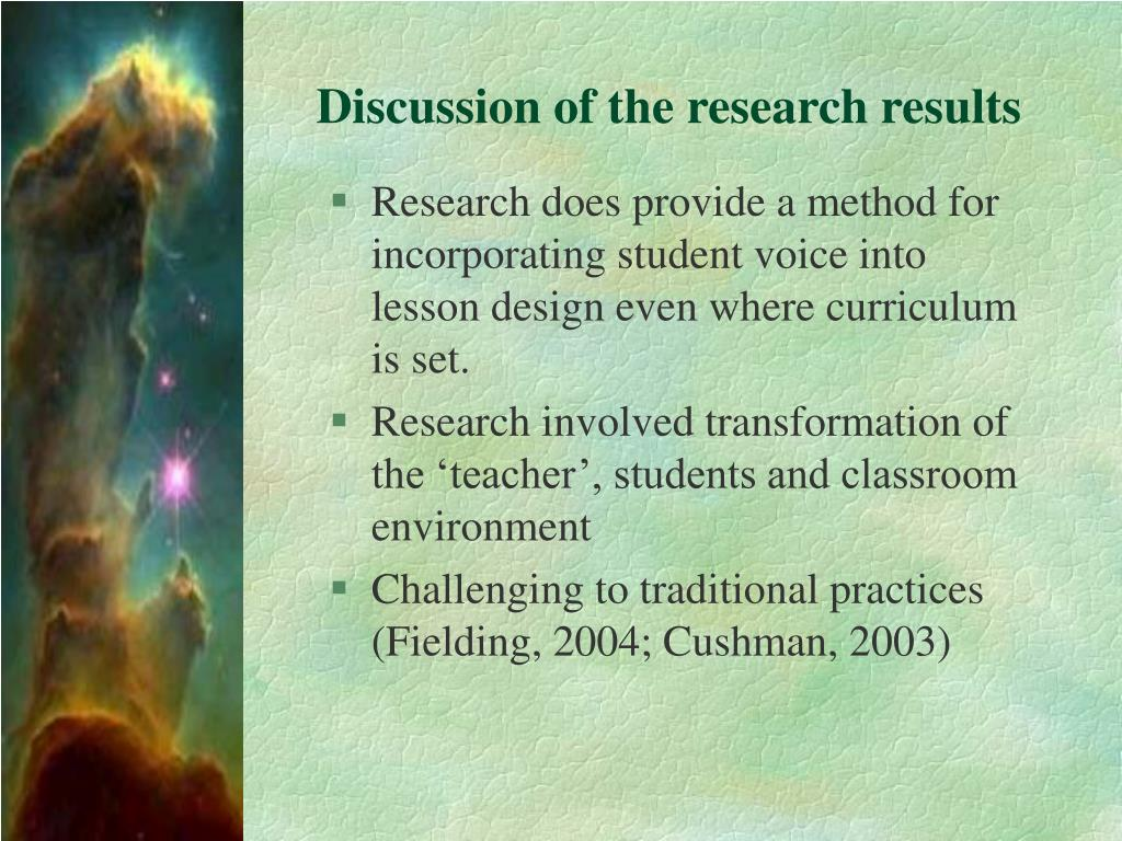 Discussion of the research results