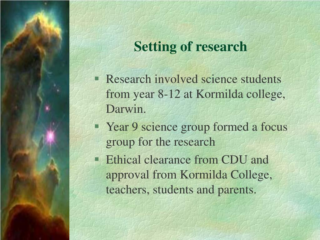 Setting of research