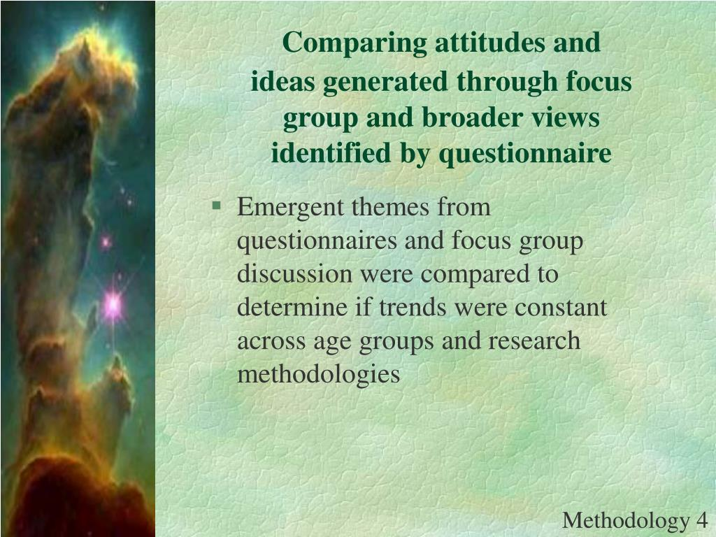 Comparing attitudes and ideas generated through focus group and broader views identified by questionnaire