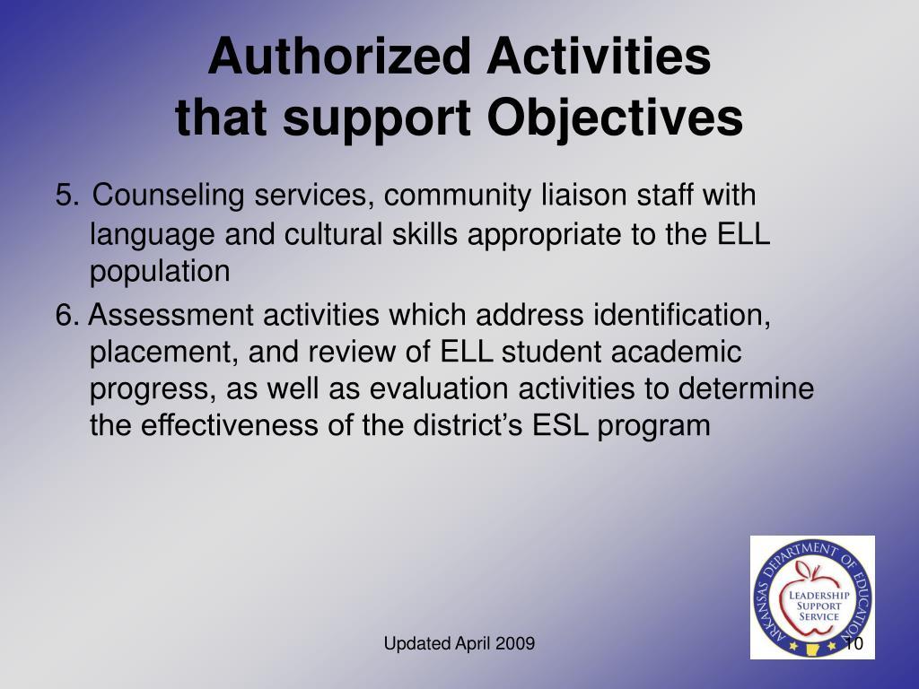 Authorized Activities