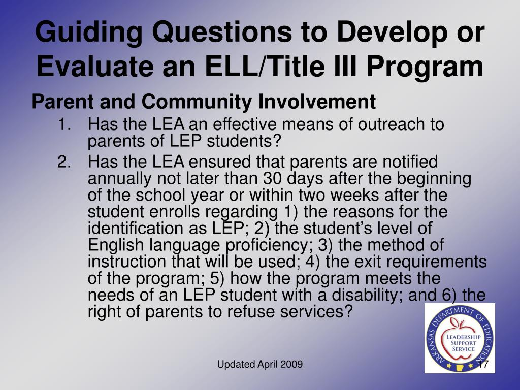 Guiding Questions to Develop or Evaluate an ELL/Title III Program