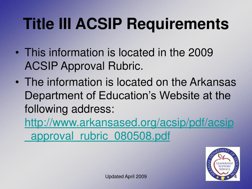 Title III ACSIP Requirements