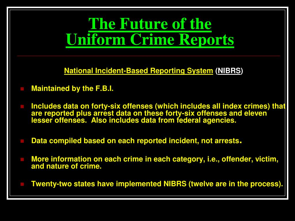uniform crime report How to cite uniform crime reports depends on the college or professor and the style manual since citation rules are strictly observed, pay particular attention to wording, spaces and punctuation.