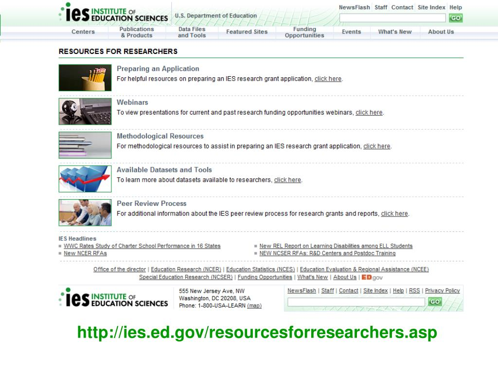 http://ies.ed.gov/resourcesforresearchers.asp