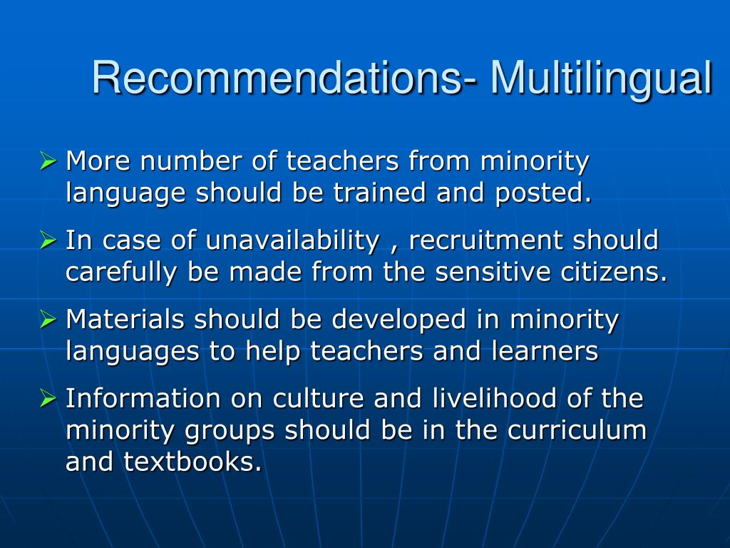 Recommendations- Multilingual