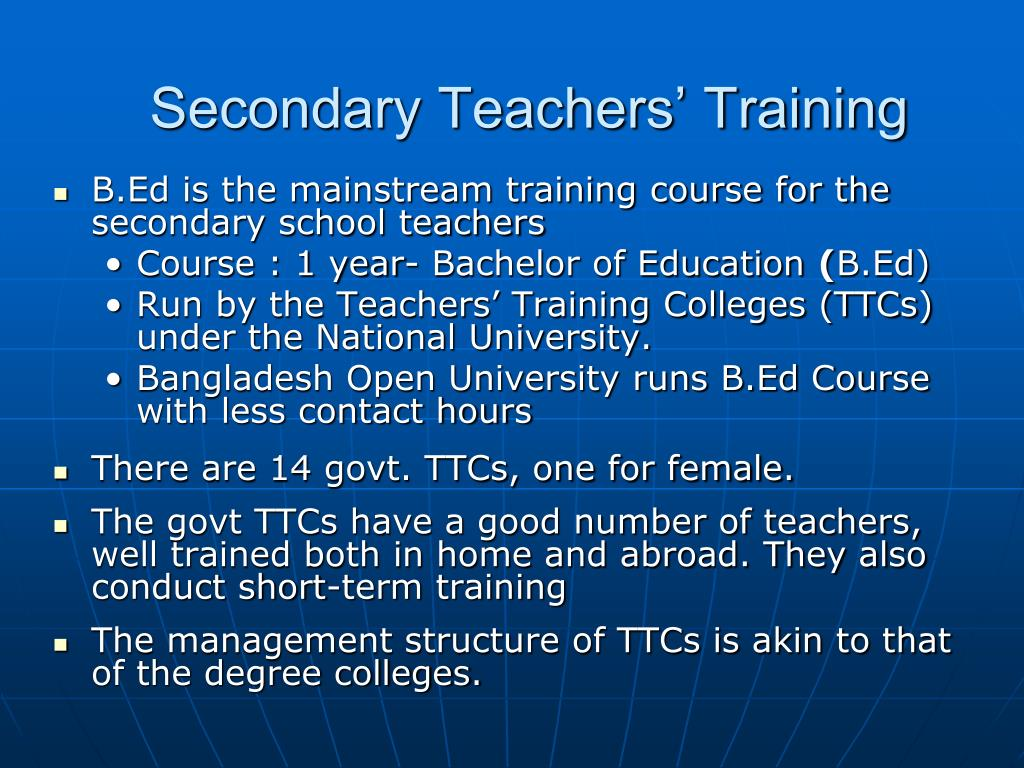 Secondary Teachers' Training