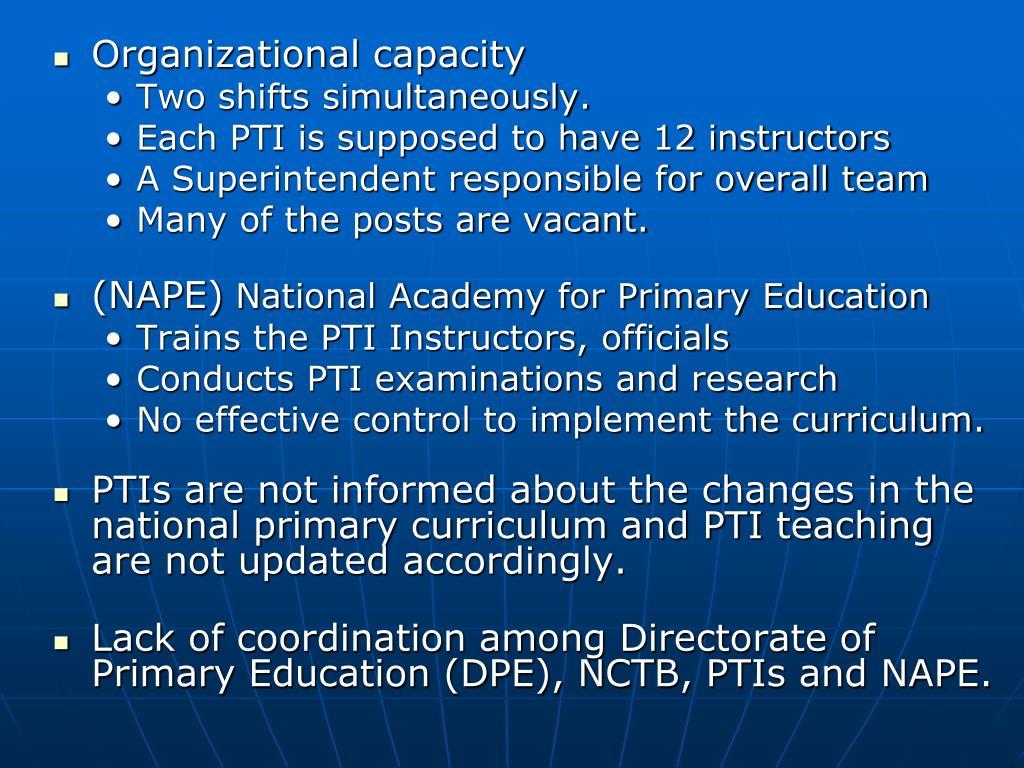Organizational capacity