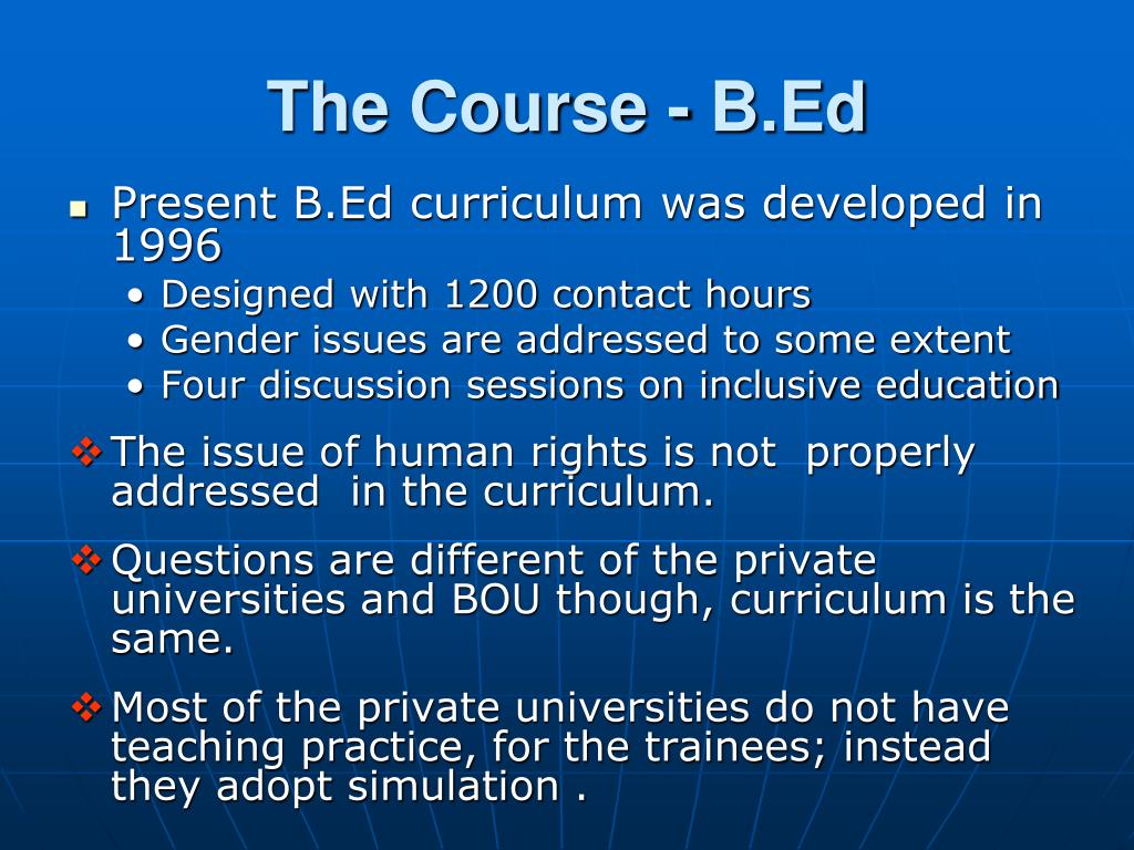 The Course - B.Ed