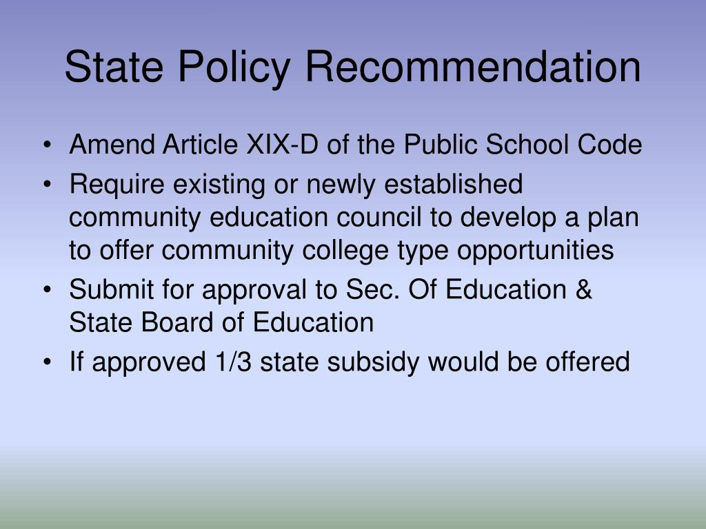 State Policy Recommendation