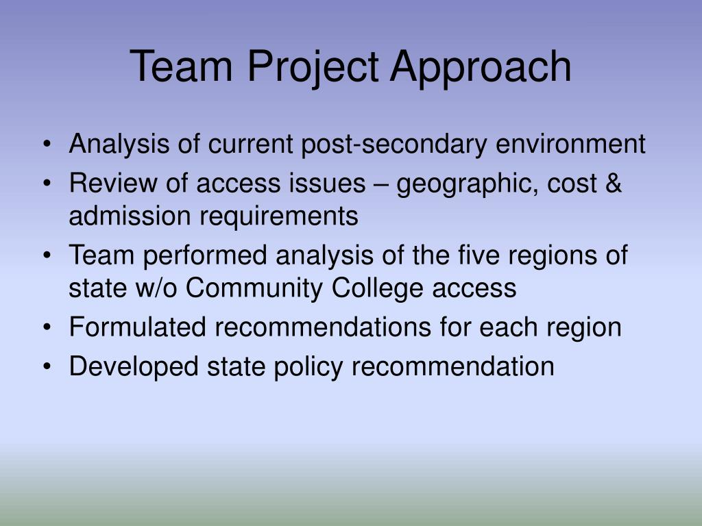 Team Project Approach