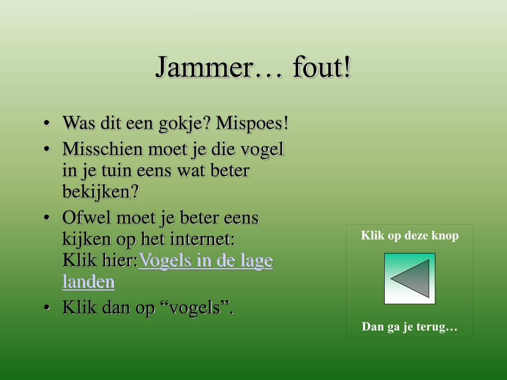 Jammer… fout!