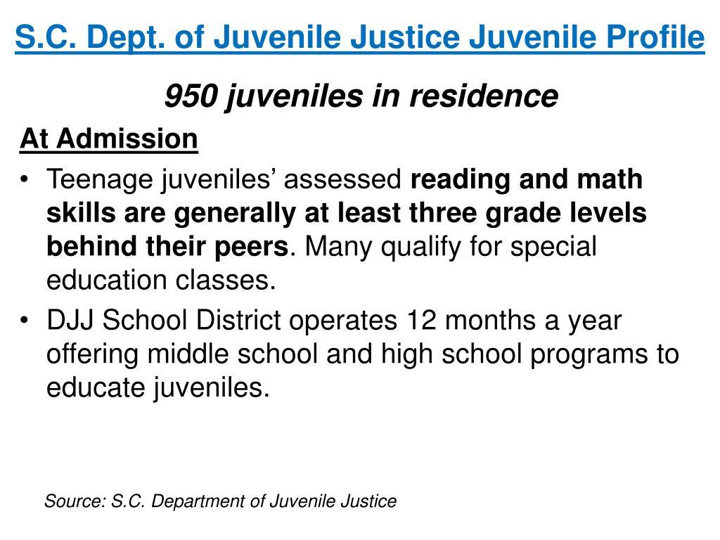 S.C. Dept. of Juvenile Justice Juvenile Profile