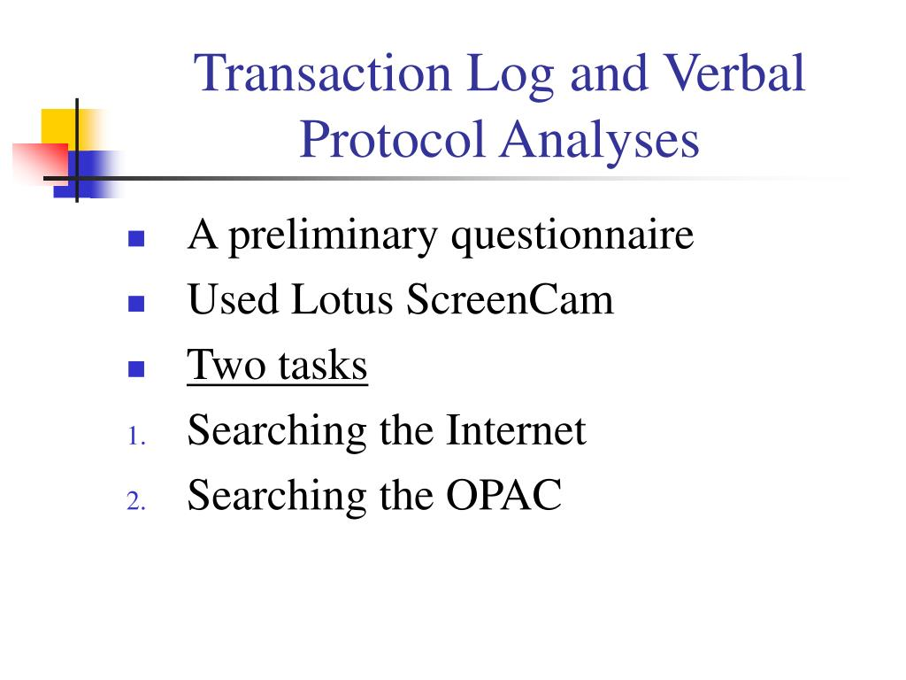 Transaction Log and Verbal Protocol Analyses