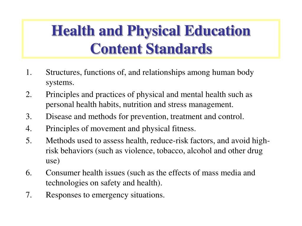 Health and Physical Education Content Standards