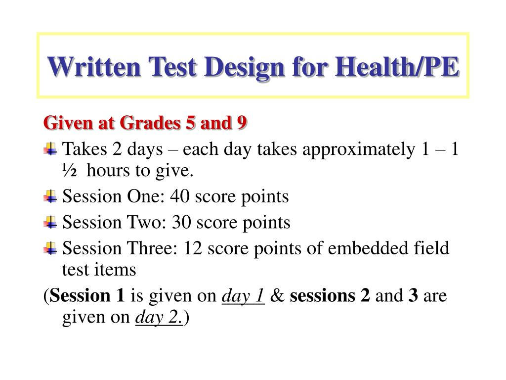Written Test Design for Health/PE