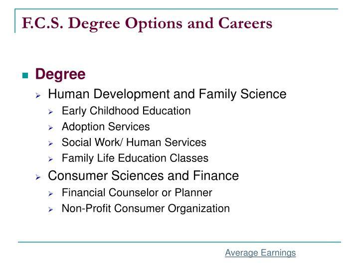 F c s degree options and careers
