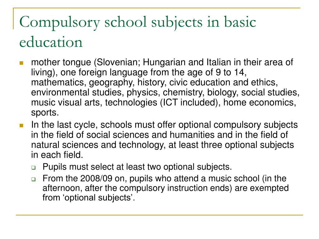 Compulsory school subjects in basic education