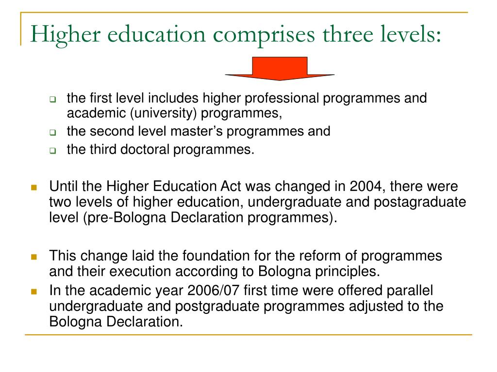 Higher education comprises three levels