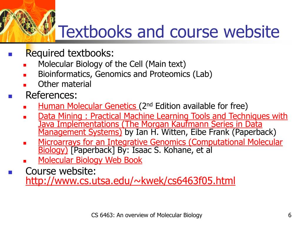 Textbooks and course website