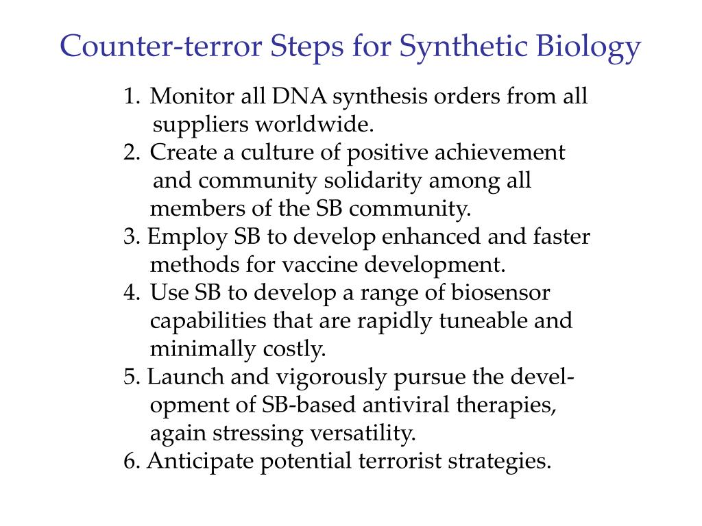 Counter-terror Steps for Synthetic Biology