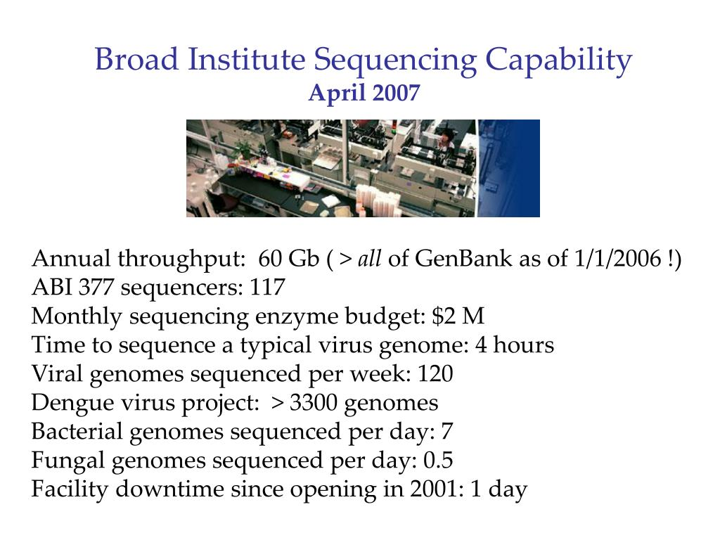 Broad Institute Sequencing Capability
