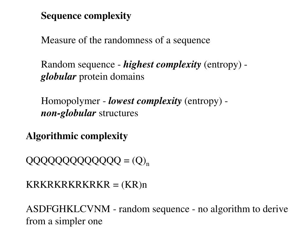 Sequence complexity