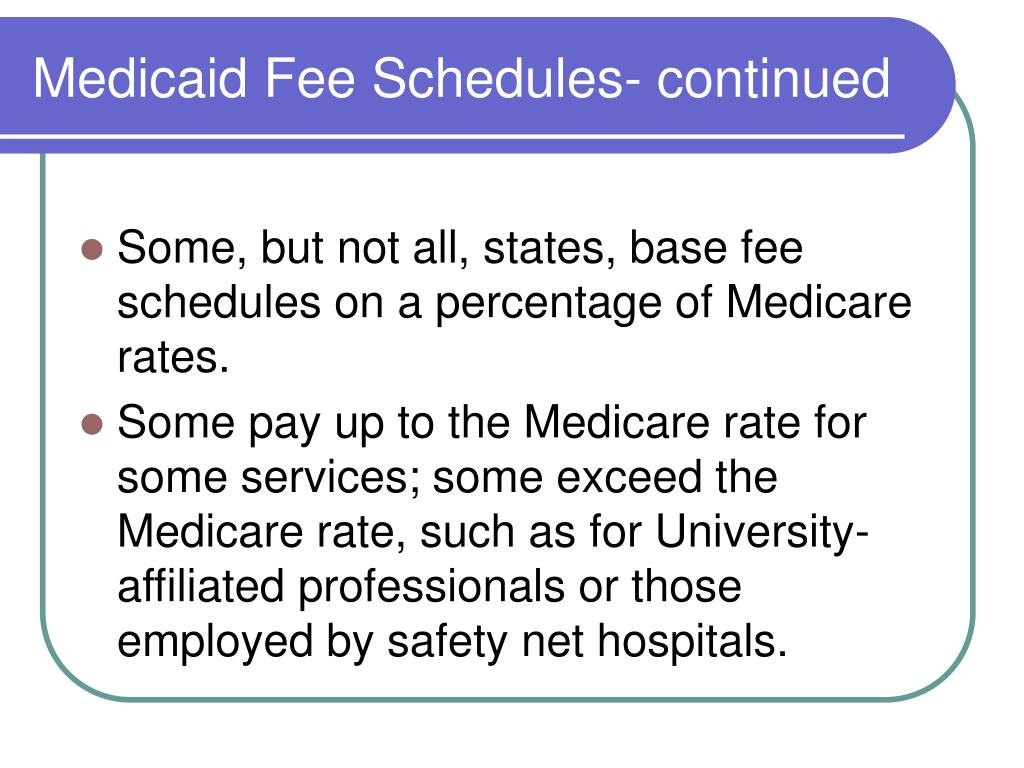 Medicaid Fee Schedules- continued