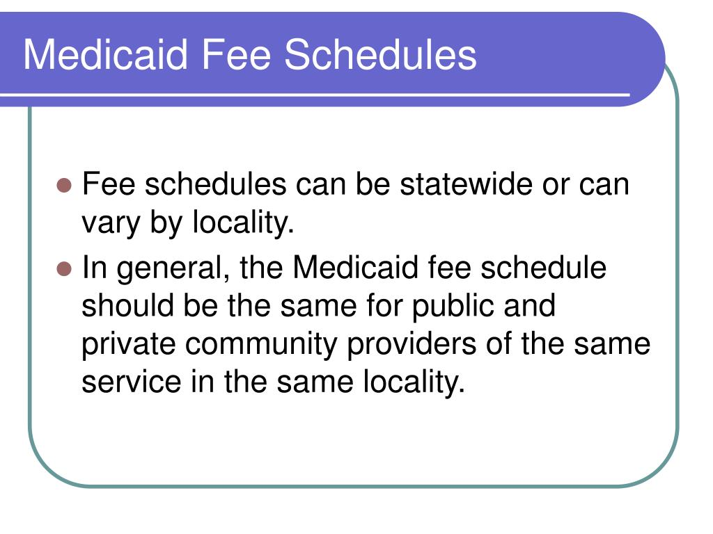 Medicaid Fee Schedules