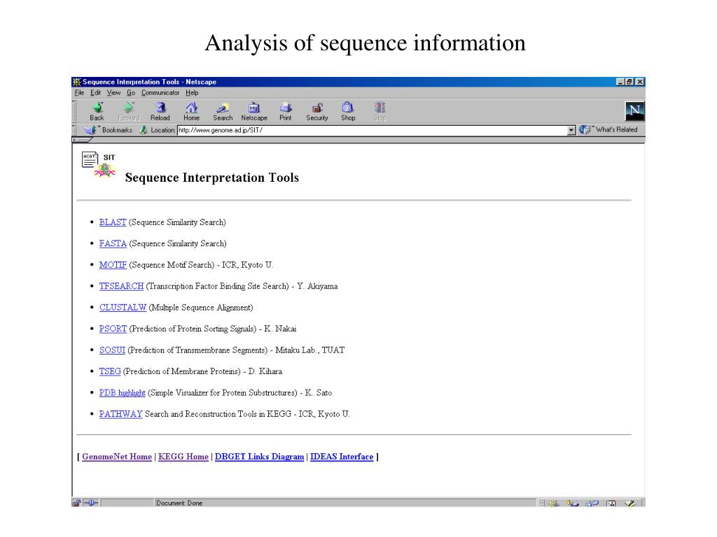 Analysis of sequence information