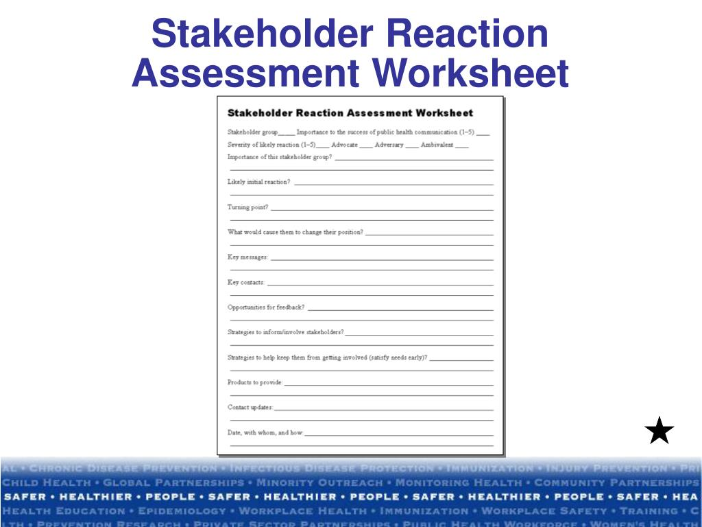 Stakeholder Reaction Assessment Worksheet
