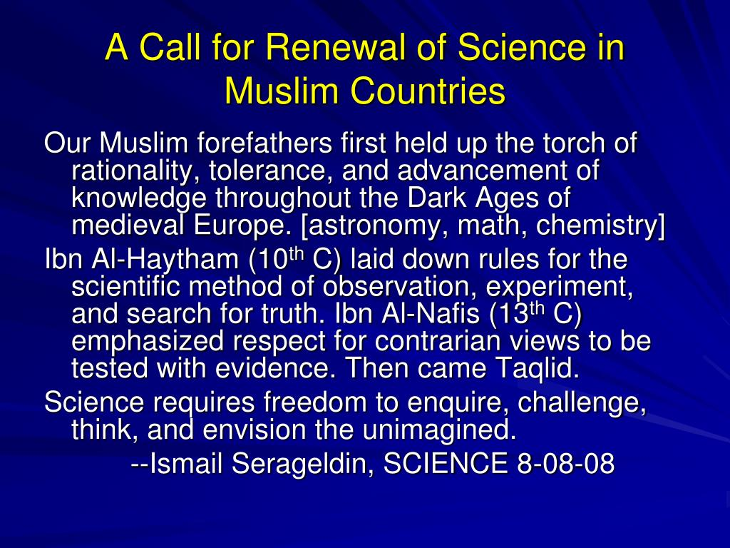 A Call for Renewal of Science in Muslim Countries