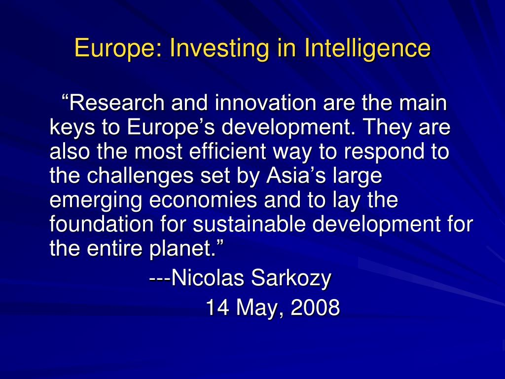 Europe: Investing in Intelligence